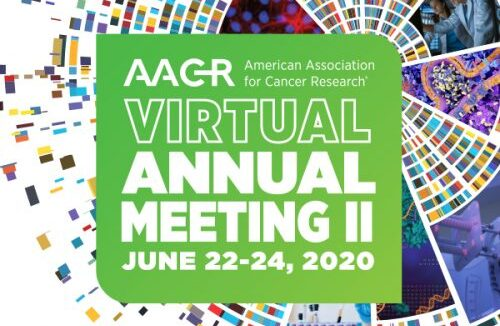 logo AACR 2020 virtual meeting. NTRC presents a poster on High TDO and IDO1 expression in ovarian cancer-associated cells isolated from malignant ascites
